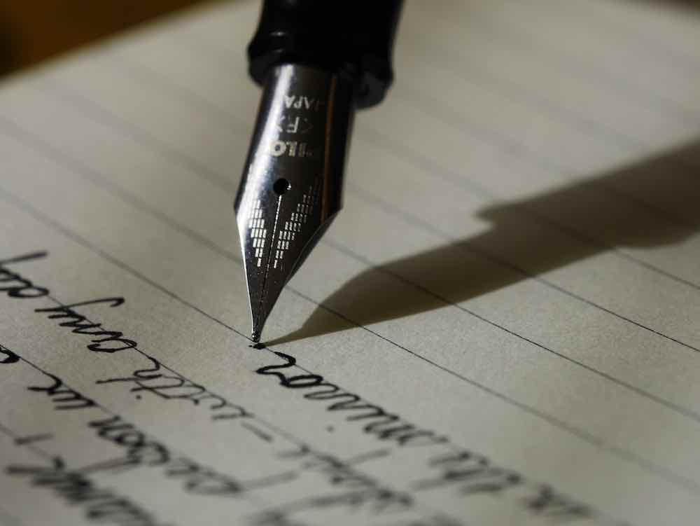 writing on a page
